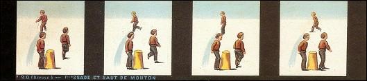 Bande de PRAXINOSCOPE d'Emile REYNAUD : N° 20 - GLISSADE ET SAUT DE MOUTON (2ème série)