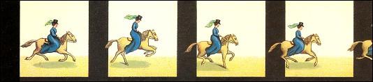 Bande de PRAXINOSCOPE d'Emile REYNAUD : N° 28 - LE STEEPLE-CHASE (3ème série)