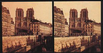 Notre-Dame et l'ancien Hôtel Dieu vu des quais (1868) - vue stéréoscopique