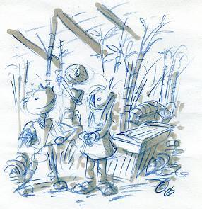 Ruzz, Ben et Rhizome - dessin original de Philippe JULLIEN pour Doc HEEZA