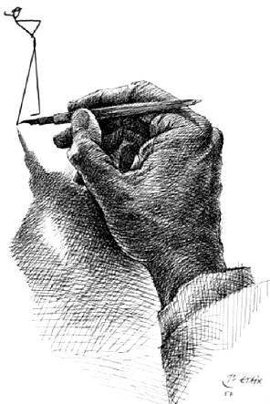 Mr HULOT vu par Pierre ETAIX - Dessin