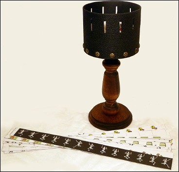 The Zoetrope and its animated strips.