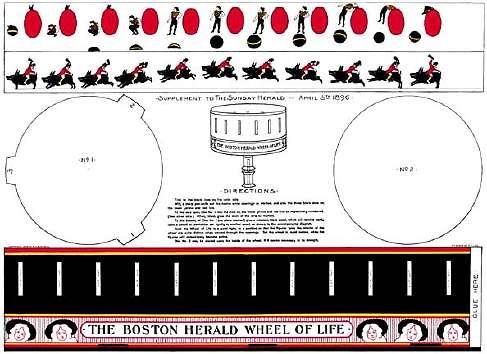 La reproduction du ZOOTROPE à construire soi-même offert à ses lecteurs par le SUNDAY HERALD le 5 Avril 1896
