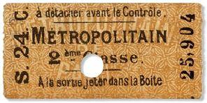 Ticket de métro de 2ème classe - 1903
