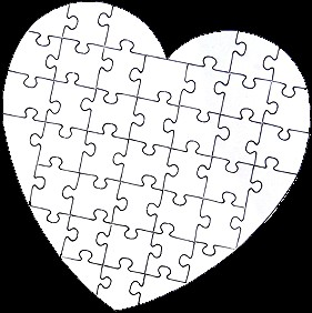 the white puzzle  heart-shaped