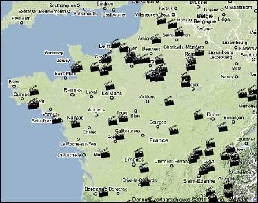 Carte de France des cinémas qui diffusent régulièrement des courts-métrages